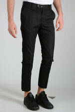 ALEXANDER MCQUEEN New Man Pants Cotton Black Ankle Zipped NWT