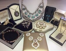 Job Lot Beautiful Vintage Jewellery Crystal Statement Necklace Brooch Rings