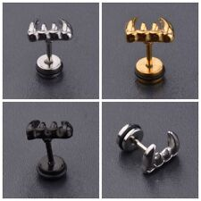 DouVei 2 Pcs Popular Punk Women Men Stainless Steel Rock Horn Ear Stud Earrings