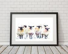 signed LIMITED EDITON PRINT original 6 Black faced SHEEP original art painting