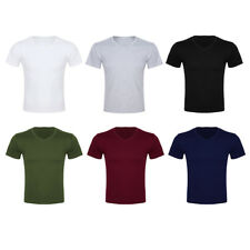 Summer Men's Cotton Short Sleeve V-Neck Solid Casual Slim Fit T-shirt Tops Tee