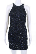 Parker Navy Blue Sequin Embellished Sleeveless Mini Dress Size Small