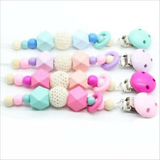 Baby Pacifier Clip Chain Wooden Holder Dummy Pacifier Soother Nipple wood Bead