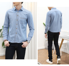 Fashion Luxury Men Denim Shirt Casual Long Sleeve Slim Cotton Tops Shirt New