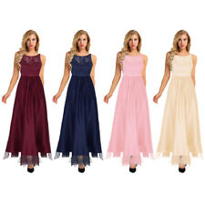 Womens Formal Evening Party Dress Ball Gown Lace Tulle Long Bridesmaid Dresses