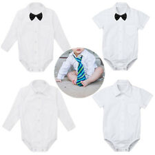 Toddler Baby Boys Smart Shirt Romper Wedding Party Christening Formal Suit-White