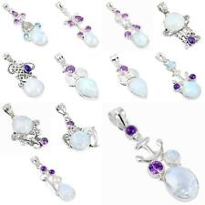Natural moonstone amethyst 925 sterling silver pendant jewelry