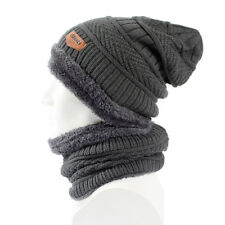Mens Hat and Scarf Set Mens Winter Hat Scarf Windproof Knit Hat Scarf Velvet