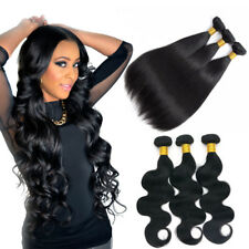 100% Unprocessed Brazilian Virgin Human Hair Bundles Extensions Weave Weft US