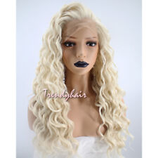 Women Natural Root Blonde Curly Wavy Long Synthetic Lace Front Full Hair Wig