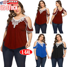 Women Summer Cold Shoulder Tee Top Short Sleeve Lace Retro Blouse Casual T-Shirt