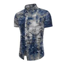 Formal stylish men's summer floral short sleeve casual luxury slim fit t-shirt