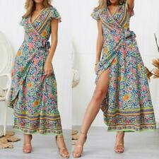 Summer sundress boho cocktail party long maxi evening floral beach Women's dress