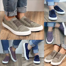 Womens Canvas Loafers Pumps Ladies Casual Slip On Flat Sneakers Athletic Shoes