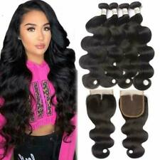 3 Bundles with 4x4 Closure Free Part Unprocessed Virgin Human Hair Weave Weft US