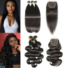 3 Bundles 100% Brazilian Virgin Human Hair Extensions Weft with 4x4 Lace Closure