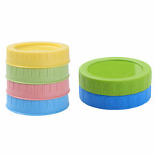 4pcs 70mm Lids Plastic Storage Caps Covers with Straw Hole for Mason Jar Canning