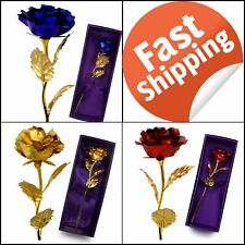 Unite Stone Valentines Day Gift 24K Gold Foil Artificial Rose Flower