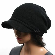 New men women VISOR BEANIE knit black Hat Cap NWT 1035