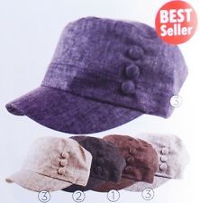 D&Y COTTON SOLID CADET MILITARY GOLF CAP HAT W/BUTTONS