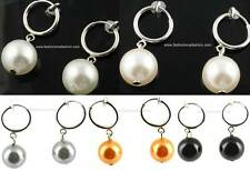 1Pair Spring Clip On Faux Pearl Dangle EARRINGS 5Colors