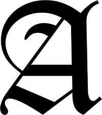 """Old English Letter A  Initial Decal 3.75"""" choose color!"""