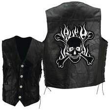 Mens Black Leather Flaming Vest with Skull Crossbones Patch