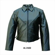 Ladies Womens Black Braided Leather Motorcycle Biker Jacket With Side Lace