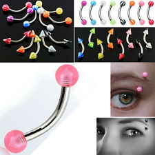 SET LOT 9pc 16g Curved Ball Barbell Ring Eyebrow Nipple
