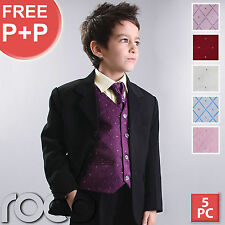 BOYS 5PC WAISTCOAT WEDDING PAGEBOY PROM OUTFITS SUIT