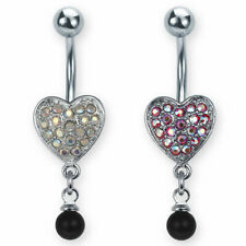 SS Jewel Filled Heart Belly Ring W/ Dangling Black Bead