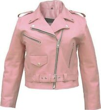Ladies Pink Leather Classic Motorcycle Jacket w Half Belt