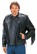 Motorcycle Leather Jacket with Fringe and Conchos for Men (2004)