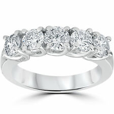 1.50Ct Diamond 5-Stone Womens Wedding Anniversary Wedding Ring Band Trellis 14KT