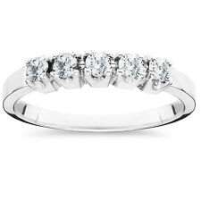 14K White Gold Ring .50CT Round Natural Diamond Wedding Anniversary Band 14KT