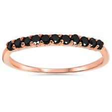 Rose Gold .30CT Black Diamond Wedding Anniversary Ring Guard Stackable Band