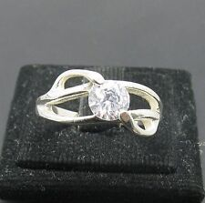 STYLISH SOLID STERLING SILVER RING 925 CZ NEW SIZE J - V