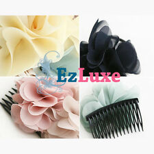 Fabric Flower Bow Hair Comb Pin Clip Dance Ballet Wedding Bridal Prom Jewelry ♥