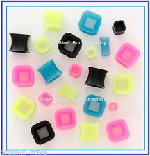 SQUARE DIAMOND SILICONE Ear tunnel plug stretcher 6 sizes 4 colours 4mm - 10mm