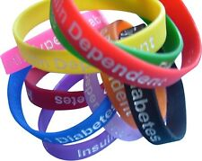 Type 1 Diabetes Insulin Dependent Medical Alert Silicone Wristbands