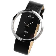 New Fashion Transparent Dial Analog Quartz Lady Leather Women Wrist Watch