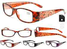 Plastic Color Reading Glasses with Etched Flower Design