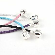 FREE SHIP 3x Plaited Braided Silver Plated Clasp Bracelet Cord For Charm Beads