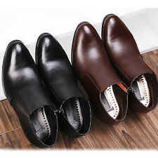 New Mens Dress Leather Shoes Formal Casual Black Brown Ankle Boots Stylish