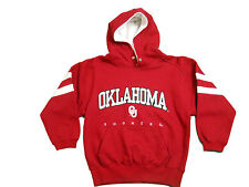 OKLAHOMA SOONERS YOUTH RED EMBROIDERED HOODED SWEATSHIRT NEW