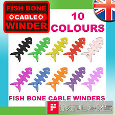 FISH BONE EARPHONE CABLE WINDER 10 COLOURS HEADPHONE CORD TIDY SILLICONE RUBBER