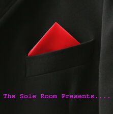 BRIGHT RED 1 POINT POCKET HANDKERCHIEF FOR SUIT JACKETS CROMBIES - MOD SCOOTERS