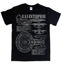 STAR TREK - NEXT GENERATION ENTERPRISE blueprints and specs t-shirt 6 STYLES