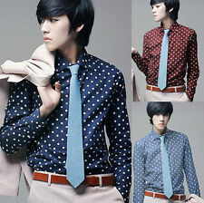 New punk style Mens Polka Dot Shirt Button front Casual shirt Business shirts