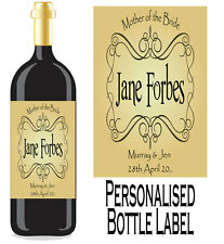 PERSONALISED BOTTLE LABEL FOR MOTHER OF THE BRIDE OR GROOM LOVELY GIFT IDEA MOT1